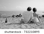 young romantic couple on the... | Shutterstock . vector #732210895