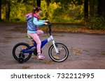 little girl riding a bicycle in ... | Shutterstock . vector #732212995
