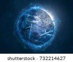 planes above globe  3d... | Shutterstock . vector #732214627
