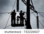 power line support  insulators... | Shutterstock . vector #732220027
