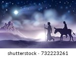 a nativity christmas... | Shutterstock .eps vector #732223261