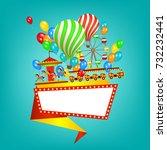flat style amusement park... | Shutterstock .eps vector #732232441