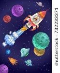 astronaut kids on the rocket in ... | Shutterstock . vector #732233371