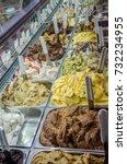 Small photo of Multicolored Italian ice cream gelato with various fruit flavors
