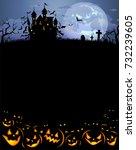 halloween background with scary ... | Shutterstock .eps vector #732239605