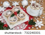 christmas mince pies on a plate ... | Shutterstock . vector #732240331