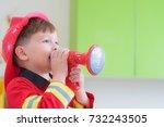 caucasian boy kid dress up to... | Shutterstock . vector #732243505