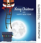 santa claus on the roof. goes... | Shutterstock .eps vector #732244075
