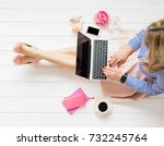 stylish woman sitting on floor... | Shutterstock . vector #732245764