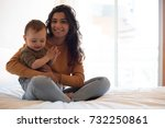 young mother spending time with ... | Shutterstock . vector #732250861