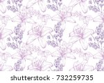 lilies and lavender pattern... | Shutterstock .eps vector #732259735