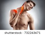 man feeling exhausted and... | Shutterstock . vector #732263671
