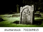 Gravestone With Skull And Bone...