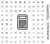 calculator icon. set of outline ...