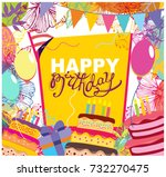 happy birthday doodle frame | Shutterstock .eps vector #732270475