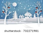 paper cut and craft winter... | Shutterstock .eps vector #732271981