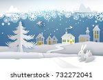paper cut and craft winter... | Shutterstock .eps vector #732272041