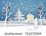 paper cut and craft winter...   Shutterstock .eps vector #732272059