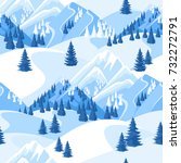 winter seamless pattern.... | Shutterstock .eps vector #732272791