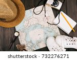 hat  map  notebook  camera ... | Shutterstock . vector #732276271