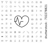 heart rate icon. set of outline ... | Shutterstock .eps vector #732278821