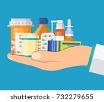 different medical pills and... | Shutterstock .eps vector #732279655