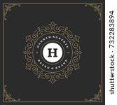 ornament monogram logo design... | Shutterstock .eps vector #732283894