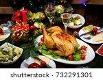 baked turkey. the christmas...   Shutterstock . vector #732291301