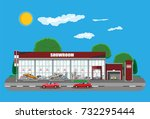 exhibition pavilion  showroom... | Shutterstock .eps vector #732295444