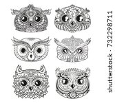 owls. heads. design zentangle.... | Shutterstock .eps vector #732298711