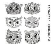 owls. heads. design zentangle.... | Shutterstock .eps vector #732298711