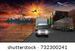 truck ship airplane with... | Shutterstock . vector #732300241