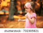 mom with two daughters twins... | Shutterstock . vector #732305821