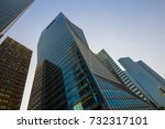 skyscraper glass facades on a... | Shutterstock . vector #732317101