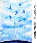 flying birds free  relax mind... | Shutterstock . vector #732321097