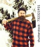 handsome man or lumberjack ... | Shutterstock . vector #732321931