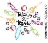 trick or treat lettering design ... | Shutterstock .eps vector #732322177