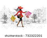 fashion girl in a hat and in  a ... | Shutterstock .eps vector #732322201