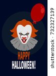 scary clown with red balloon.   ... | Shutterstock .eps vector #732327139