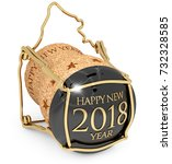 2018 new year's champagne cap... | Shutterstock . vector #732328585