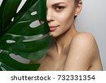 woman  monstera  spa            ...   Shutterstock . vector #732331354