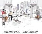 street cafe in the street of... | Shutterstock .eps vector #732333139