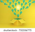green light bulbs glowing the... | Shutterstock . vector #732336775