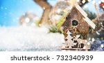 christmas ornament on wooden... | Shutterstock . vector #732340939