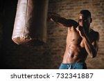 an african american guy trains... | Shutterstock . vector #732341887
