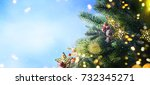 christmas snow background. | Shutterstock . vector #732345271