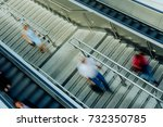 people on stairs and moving... | Shutterstock . vector #732350785
