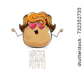 vector funny cartoon cute brown ... | Shutterstock .eps vector #732352735
