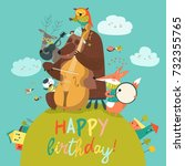 cute birthday card with animals ... | Shutterstock .eps vector #732355765