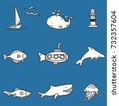 hand drawn vector set with fish ... | Shutterstock .eps vector #732357604